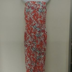 Aqua Floral Strapless Jumpsuit with Ruched Pants